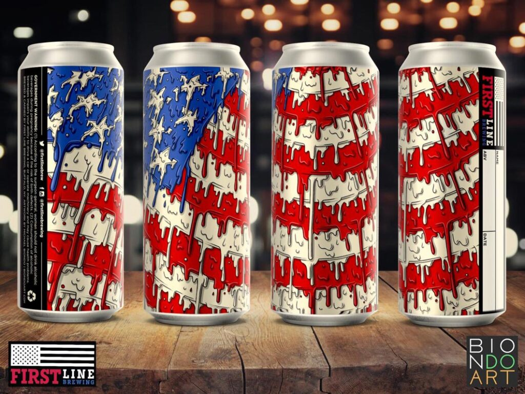 """""""America The Great"""" Freehand Digital Illustration - First Line Brewing - Beer Can Label - Biondo Art"""