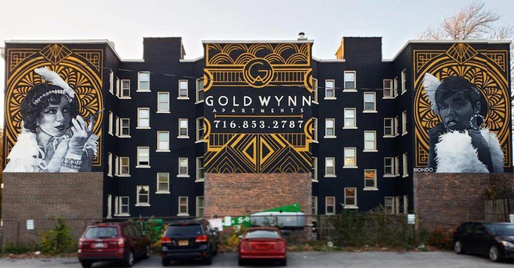 Biondo ArtGold Wynn Residential Art Deco Murals at Johnson Park, Buffalo, NY