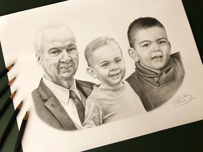 Biondo Art - Ivana Family Portrait Pencil Drawing