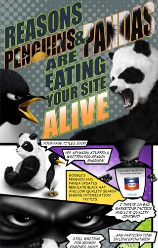 Reasons Penguins & Pandas Are Eating Your Site Alive Infographic | Mainstreethost